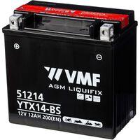 Batería motocicleta VMF Powersport Liquifix 12V 12Ah MF YTX14-BS