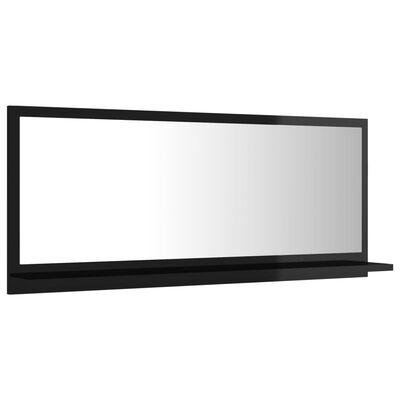 vidaXL Espejo de baño aglomerado negro brillante 90x10,5x37 cm