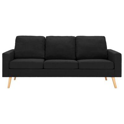 vidaXL Juego de sofás 2 piezas de tela negro