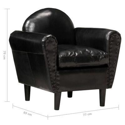 vidaXL Sillón con diseño de cubo cuero auténtico negro 77x65x79 cm