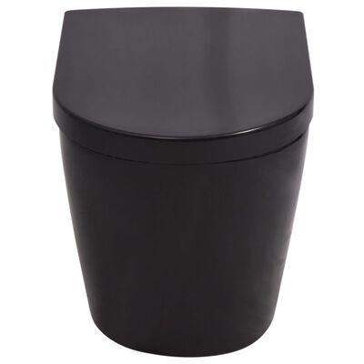 vidaXL Inodoro de pared con cisterna oculta cerámica negro