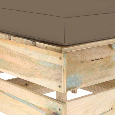 vidaXL Otomana seccional con cojín madera impregnada verde