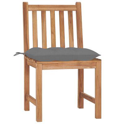 vidaXL Sillas de jardín 6 unidades madera maciza de teca con cojines