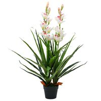 vidaXL Planta artificial orquídea con macetero 100 cm verde