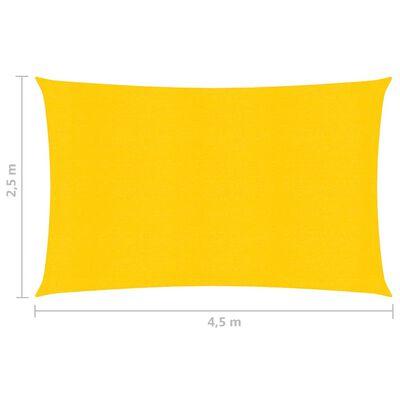vidaXL Toldo de vela HDPE amarrilo 160 g/m² 2,5x4,5 m