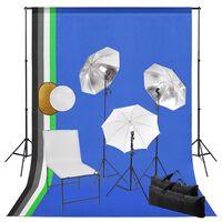 vidaXL Kit estudio fotográfico lámparas sombrillas fondo y reflector