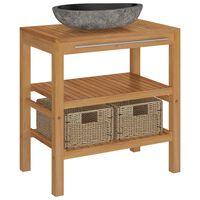 vidaXL Mueble tocador madera teca maciza con lavabo de piedra de río