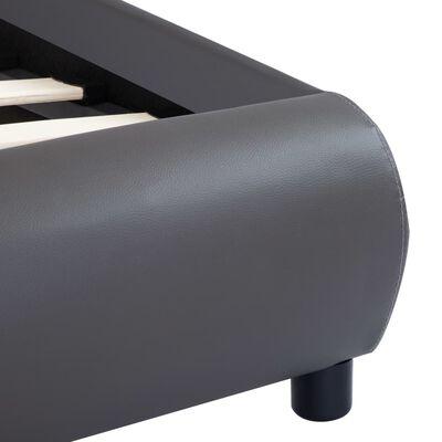 vidaXL Estructura de cama con LED de cuero sintético gris 180x200 cm
