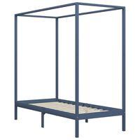 vidaXL Estructura de cama con dosel madera maciza pino gris 90x200 cm