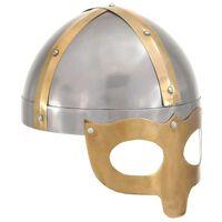 vidaXL Réplica de casco vikingo antiguo LARP acero plateado