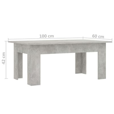 vidaXL Mesa de centro de aglomerado gris hormigón 100x60x42 cm