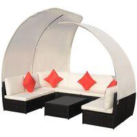 vidaXL Set muebles de jardín 9 pzas con toldos ratán sintético negro