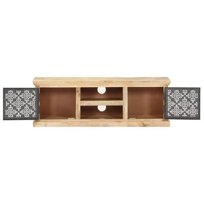 vidaXL Mueble TV con puertas de acero madera maciza mango 120x30x40cm
