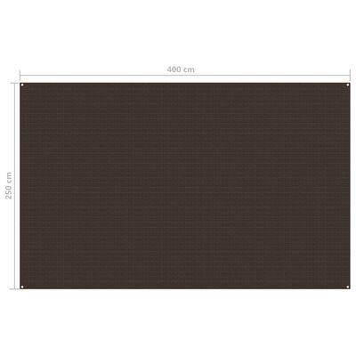 vidaXL Alfombra de tienda de campaña 250x400cm marrón