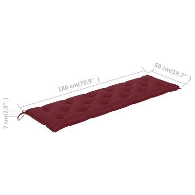 vidaXL Cojín para columpio balancín tela rojo vino tinto 180 cm