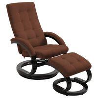 vidaXL Sillón reclinable con reposapiés tela tacto de ante marrón