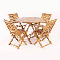 Conjunto de teca Mesa redonda 100cmy 4 sillas plegables