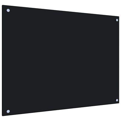 vidaXL Protector salpicaduras cocina vidrio templado negro 80x60 cm