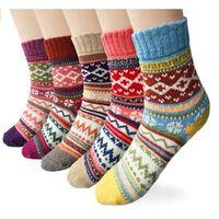 Calcetines de punto para mujer, multicolor, talla única, paquete de 5