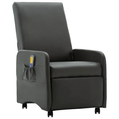 vidaXL Sillón de masaje reclinable de cuero sintético gris