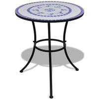 vidaXL Mesa de bistro terraza mosaico azul y blanco 60 cm