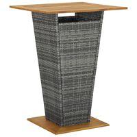 vidaXL Mesa alta ratán sintético y madera de acacia gris 80x80x110 cm