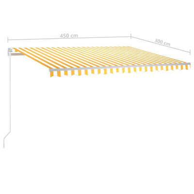 vidaXL Toldo manual retráctil con LED amarillo y blanco 450x300 cm