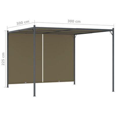vidaXL Pérgola de jardín con tejado retráctil gris taupe 3x3m 180 g/m²
