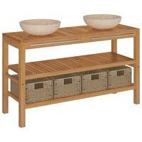 vidaXL Mueble tocador madera maciza teca con lavabos de mármol crema