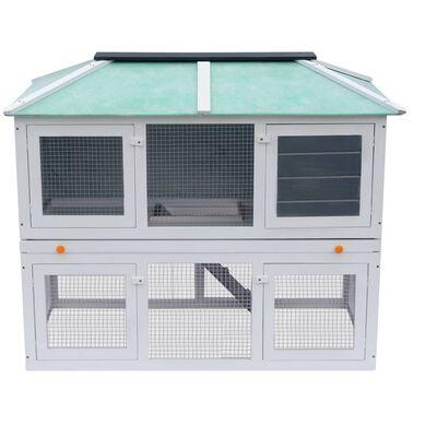 vidaXL Conejera jaula de animales con doble piso de madera