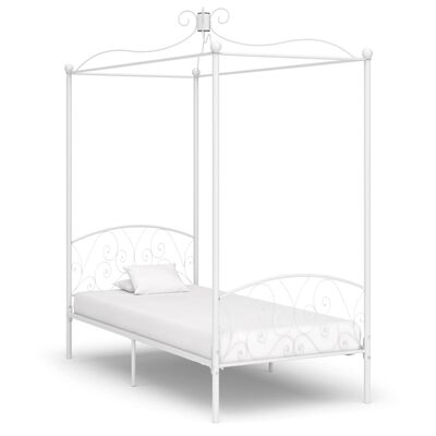 vidaXL Estructura de cama con dosel metal blanco 100x200 cm