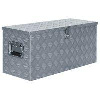vidaXL Caja de aluminio 90,5x35x40 cm plateada