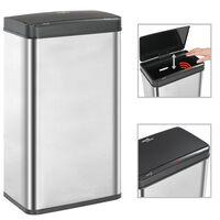 vidaXL Papelera sensor automático acero inoxidable plata y negro 70 L