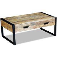 vidaXL Mesa de centro con 2 cajones madera de mango 100x60x40 cm
