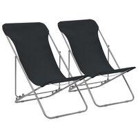 vidaXL Sillas de playa plegables 2 unidades acero y tela oxford negra