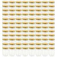 vidaXL Tarros de mermelada de vidrio con tapa dorada 96 uds 230 ml