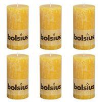 Bolsius Velas rústicas 6 unidades amarillo ocre 130x68 mm