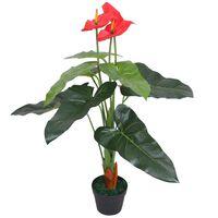 vidaXL Planta de anturio artificial con maceta 90 cm roja y amarilla