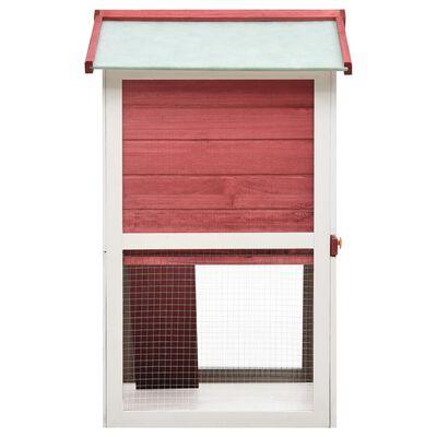 vidaXL Jaula conejera con 3 puertas madera rojo