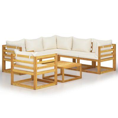 vidaXL Muebles de jardín 7 pzas cojines crema madera maciza de acacia