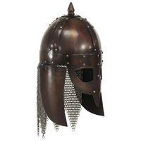 vidaXL Réplica de casco de guerrero vikingo LARP acero cobre