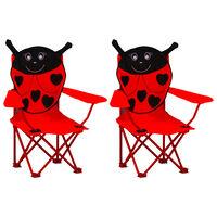 vidaXL Sillas de jardín para niños 2 unidades tela rojo