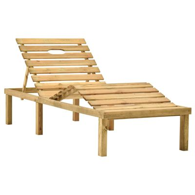 vidaXL Tumbona de jardín con mesa y cojín de madera de pino impregnada