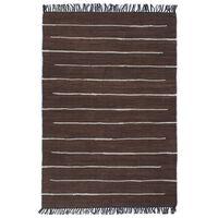 vidaXL Alfombra tejida a mano Chindi de algodón marrón 200x290 cm