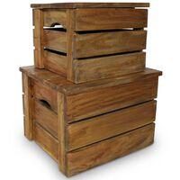 vidaXL Set de 2 cajas de almacenaje de madera maciza reciclada
