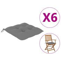 vidaXL Cojines de silla 6 unidades tela gris 40x40x7 cm