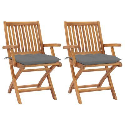 vidaXL Sillas de jardín 2 unidades madera de teca con cojines gris