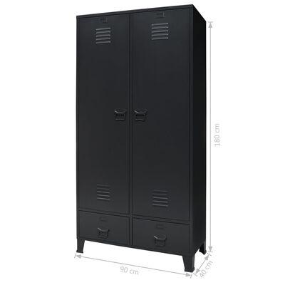 vidaXL Armario metálico de estilo industrial 90x40x180 cm negro