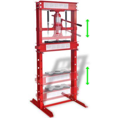 VidaXL Prensa Hidráulica de Taller 20 Ton Color Rojo
