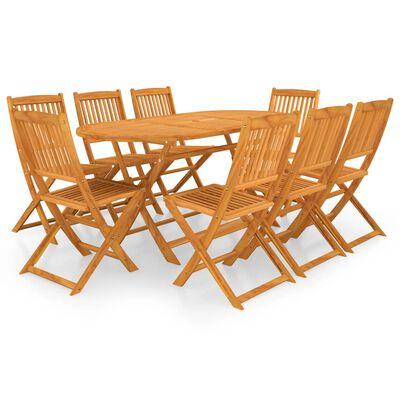 vidaXL Set comedor de jardín plegable 9 piezas madera maciza de acacia